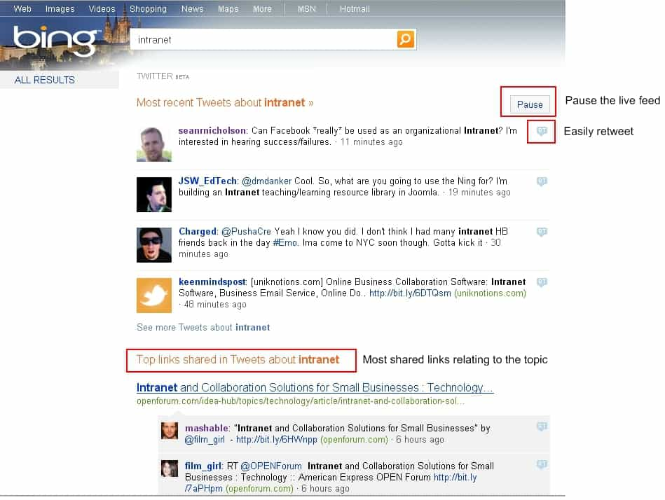 Bing allows you to easily monitor Tweets relating to Intranets (or any other topic)