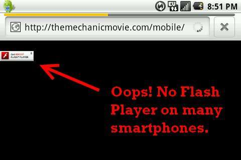 Requiring flash on a site that will have a lot of mobile traffic is a bad move