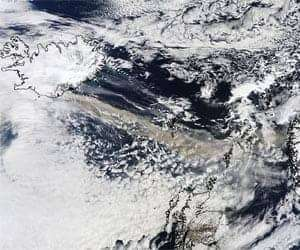 The MODIS instrument on NASA's Terra satellite captured an Ash plume from Eyjafjallajokull Volcano over the North Atlantic at 11:35 UTC (7:35 a.m. EDT) on April 15, 2010. Credit: NASA/MODIS Rapid Response Team.