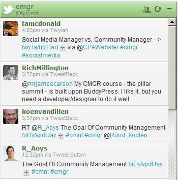 This cmgr search finds Twitter conversations relating to community management