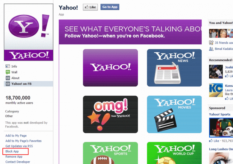 How do I block Yahoo news from displaying in my Facebook timeline