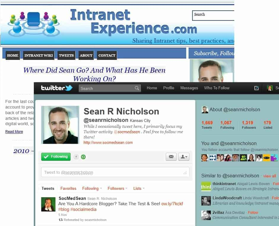 While working as an intranet manager in my day job, I shared my experiences on my Intranet Experience blog and on Twitter
