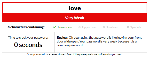 Using love as your password would take a hacker less than a second to crack
