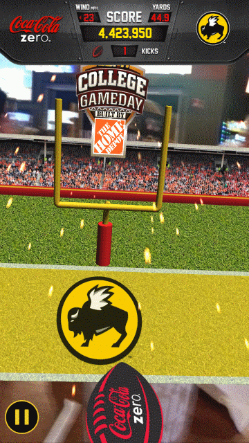 The Buffalo Wild Wings Big Kick Challenge Takes Finger-Flick Football Mobile And Adds An Augmented Reality Component