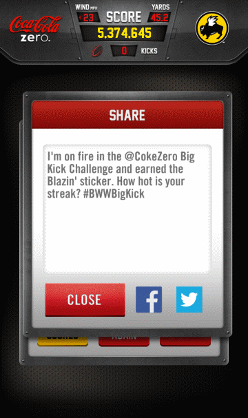With The Big Kick Challenge, Buffalo Wild Wings Also Let's You Share To Facebook And Twitter