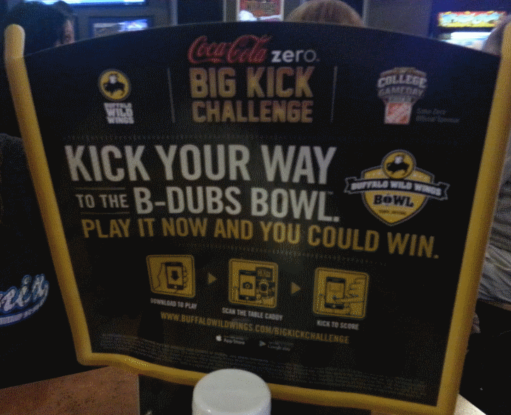 The Table Sign Associated With Buffalo Wild Wings' Big Kick Challenge Becomes A Virtual Reality Goalpost