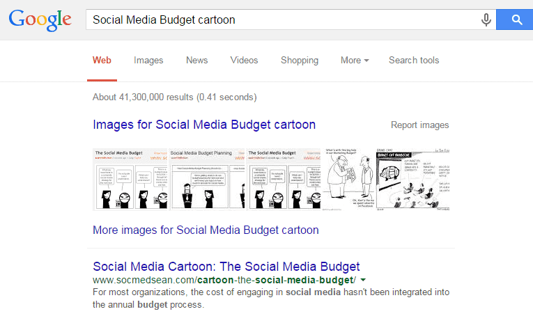These are the search results that appear when you search for planning a social media budget cartoon
