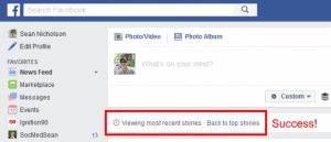 Success! By using this URL, Facebook automatically switches your feed to Most Recent instead of Top Stories!