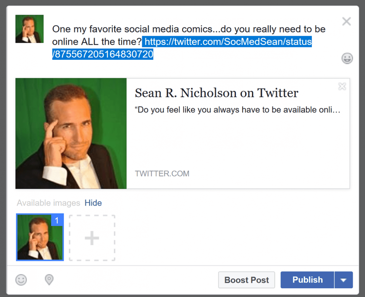Step 4 in posting a tweet to Facebook is just pasting the URL to the tweet to your Facebook status update and then publishing it.