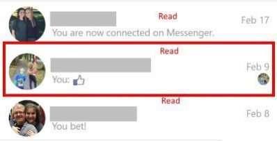Incluso este sencillo emoticón de Me gusta puede crear un mensaje no leído que activará la notificación de mensaje no leído en la aplicación móvil de Facebook