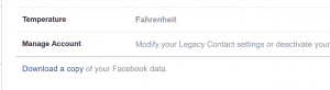 Request your data download from Facebook