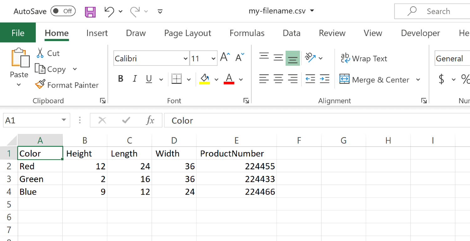 The CSV file you created in Notepad can now be opened in Excel
