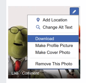 You can download a photo from your Facebook group to your local desktop