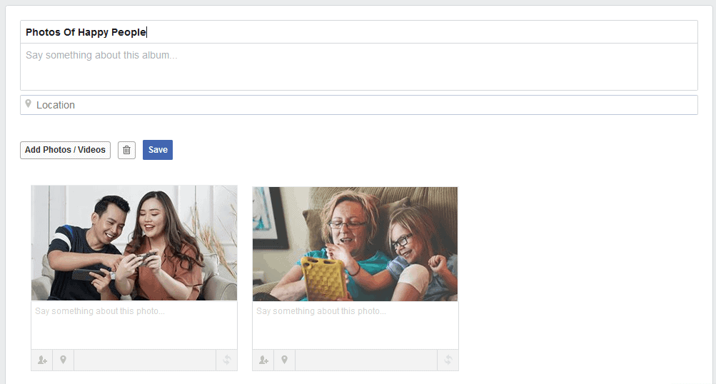 Facebook groups cannot download entire photo album