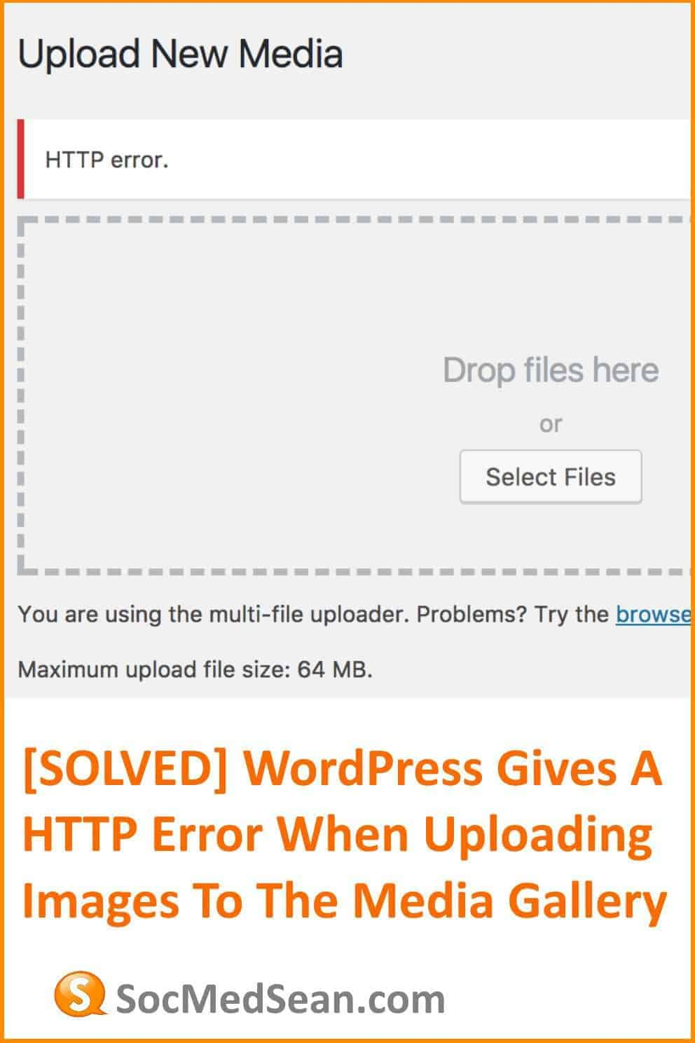 The WordPress Media uploader is causing a HTTP error when I try to upload a photo image to my gallery