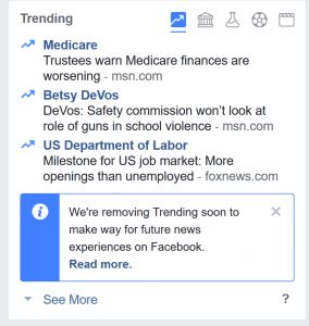 Facebook has confirmed that they are removing the Trending News box from the user experience