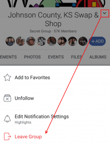 Leaving the Facebook group using the group menu in the mobile app
