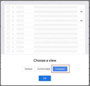 The compact display density will adjust the number of lines visible in Gmail back to be more like the Classic view