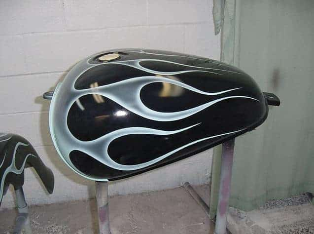 The fuel tank for my Honda Shadow ACE 1100 with custom flames