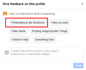 Select the option that the account is pretending to be someone to report the fake Facebook profile