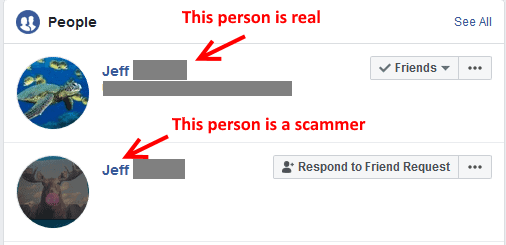 This is a fake Facebook friend request where the scammer is posing as a friend of mine