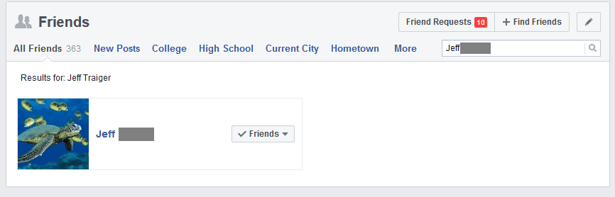 Search your Facebook friends to make sure you are still connected with the friend before reporting the fake friend request