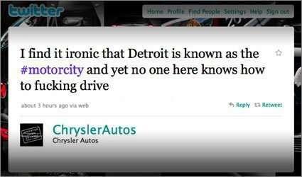 Chrysler intern tweets negative message Twitter
