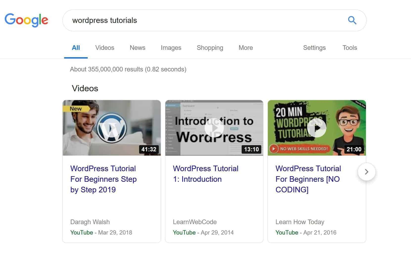 Google often displays YouTube videos at the top of popular search results