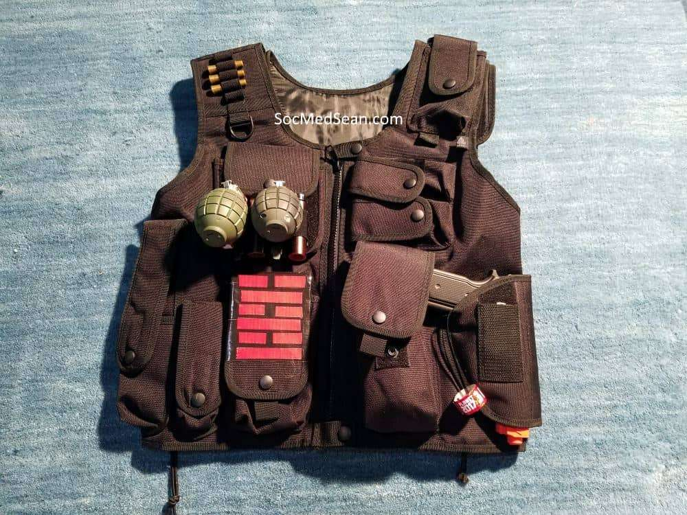 This UTG Tactical Vest does a great job holding all of Snake Eye's gear