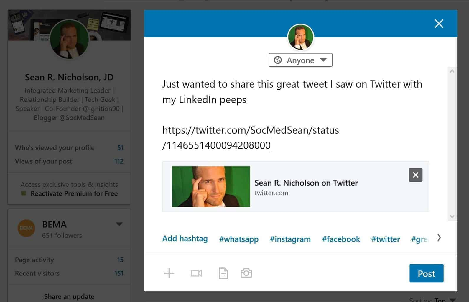 ANSWERED] How Do I Share A Tweet To LinkedIn? - SocMedSean