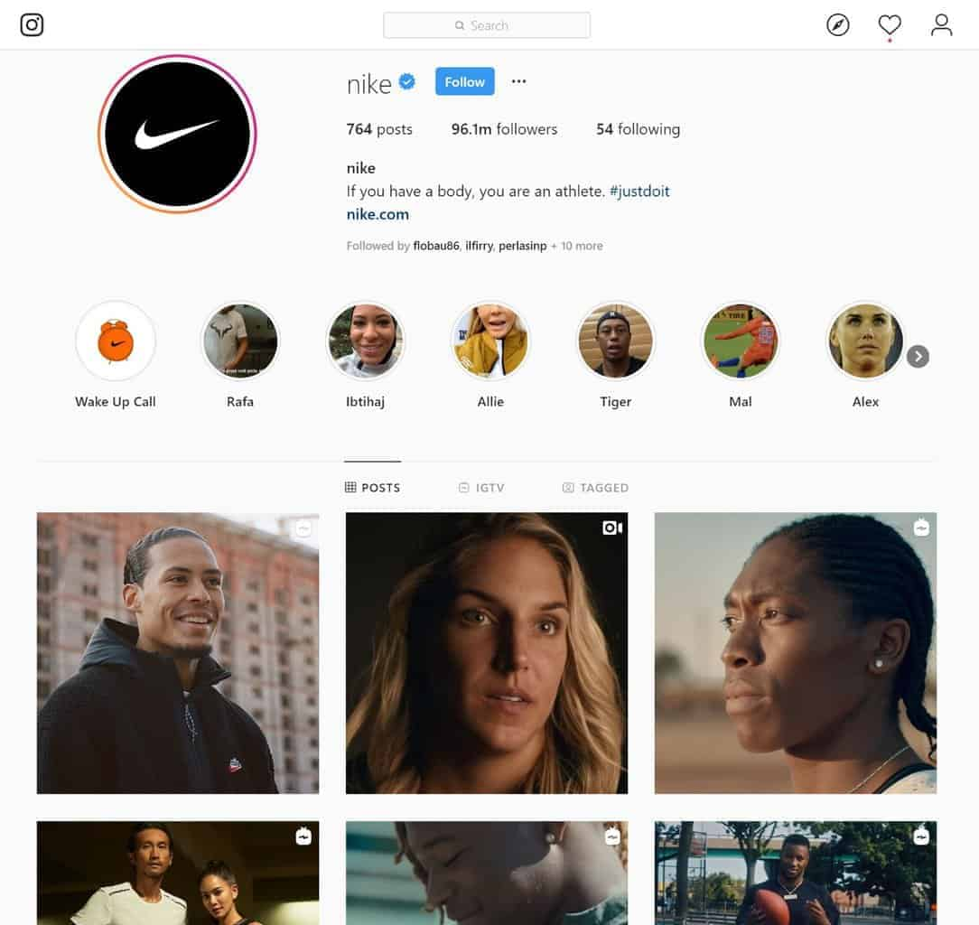 Nike's Instagram account features people, not products