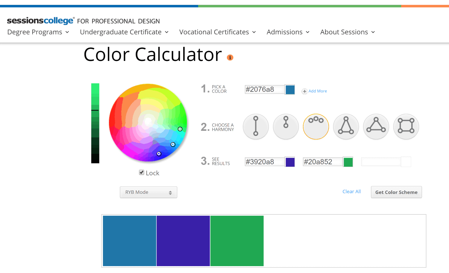 The color calculator tool created by Sessions College can help you identify complimentary colors for your Instagram aesthetic