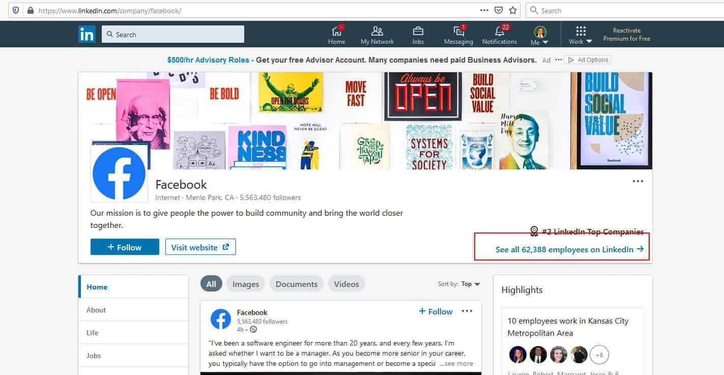 Need help with Facebook? Try finding contacts on LinkedIn