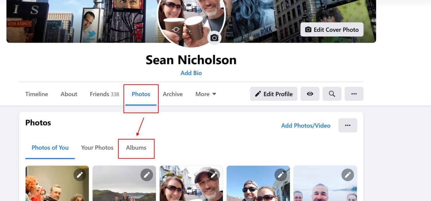 To organize your photos in an album in the new Facebook layout, first choose to view your albums
