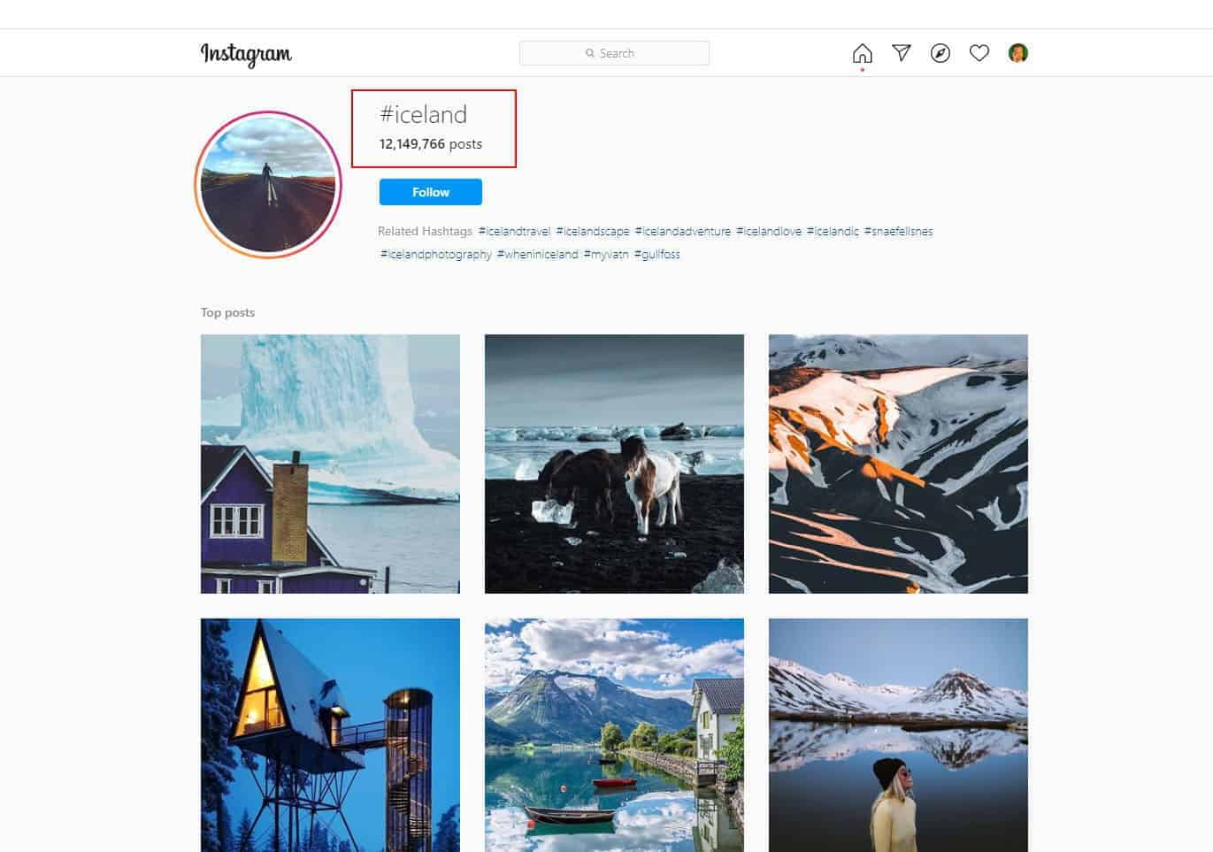 The #iceland hashtag on Instagram has more than 12 million photos that have used it.