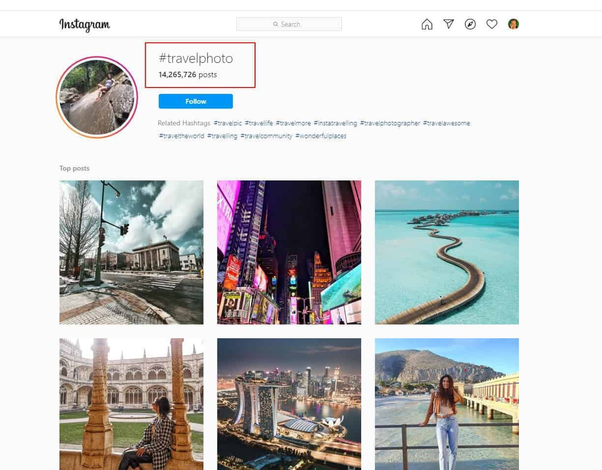 The #travelphoto hashtag is used in more than 14 million Instagram photo posts