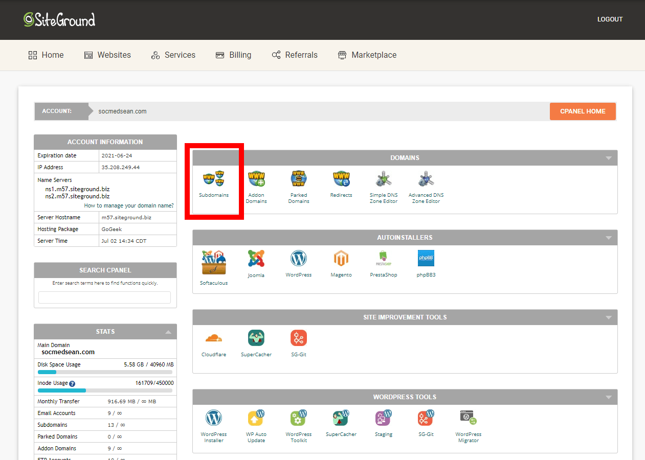 Use cPanel to create a new subdomain that you can use for rebuilding and testing your site.