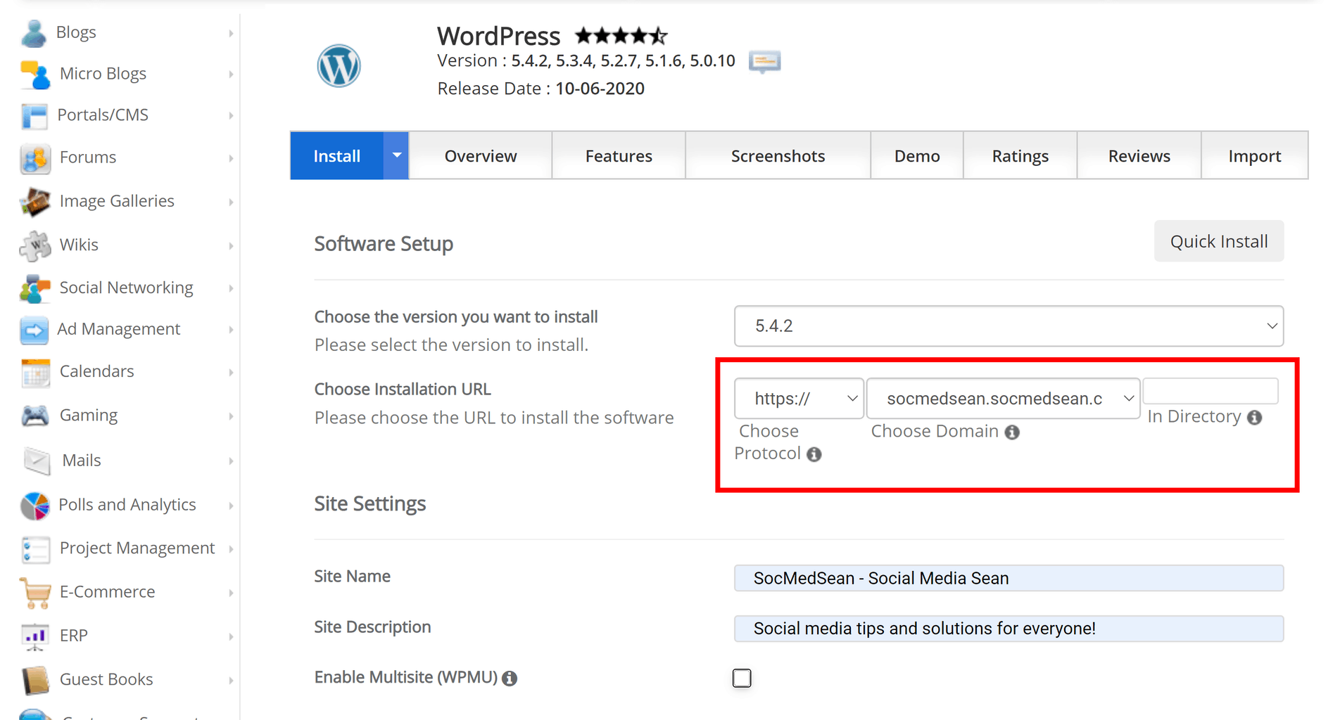 Configure your new WordPress instance using the installer tool.