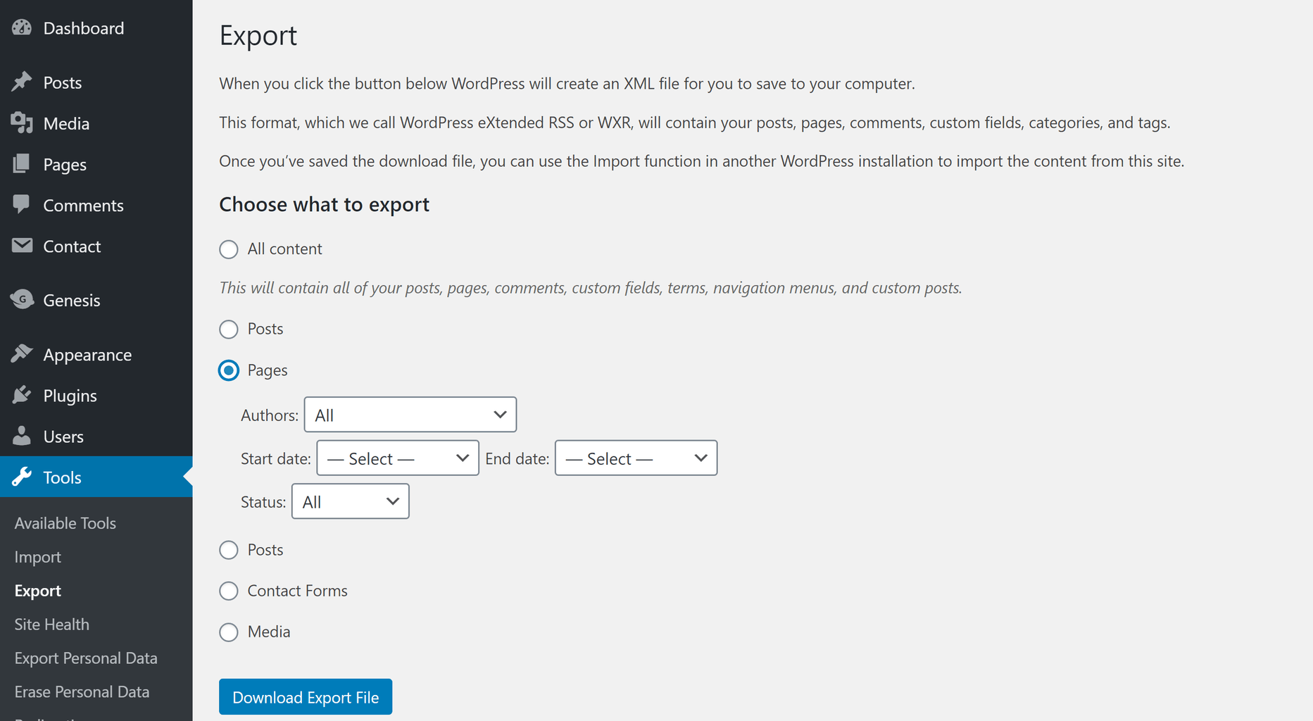Use the WordPress export tool to create an XML file that contains your site pages.