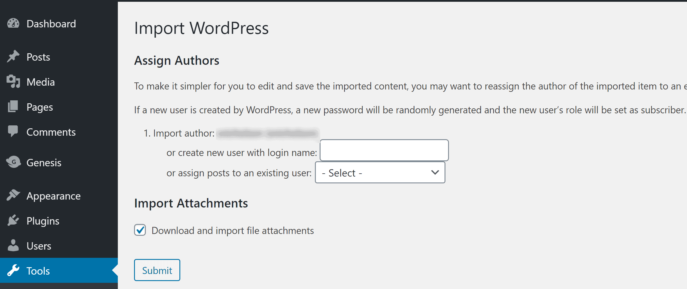 In the WordPress import tool, assign a user and be sure to include the media files.