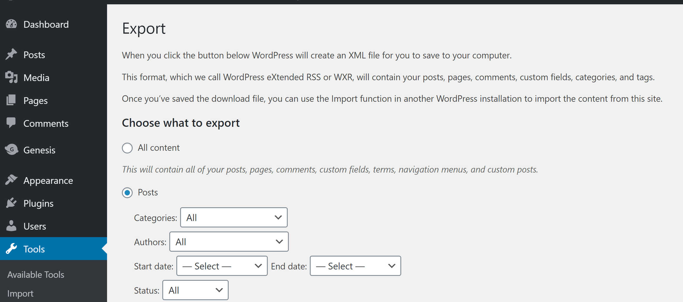 Using the WordPress export tool, create an XML file that contains all your posts.