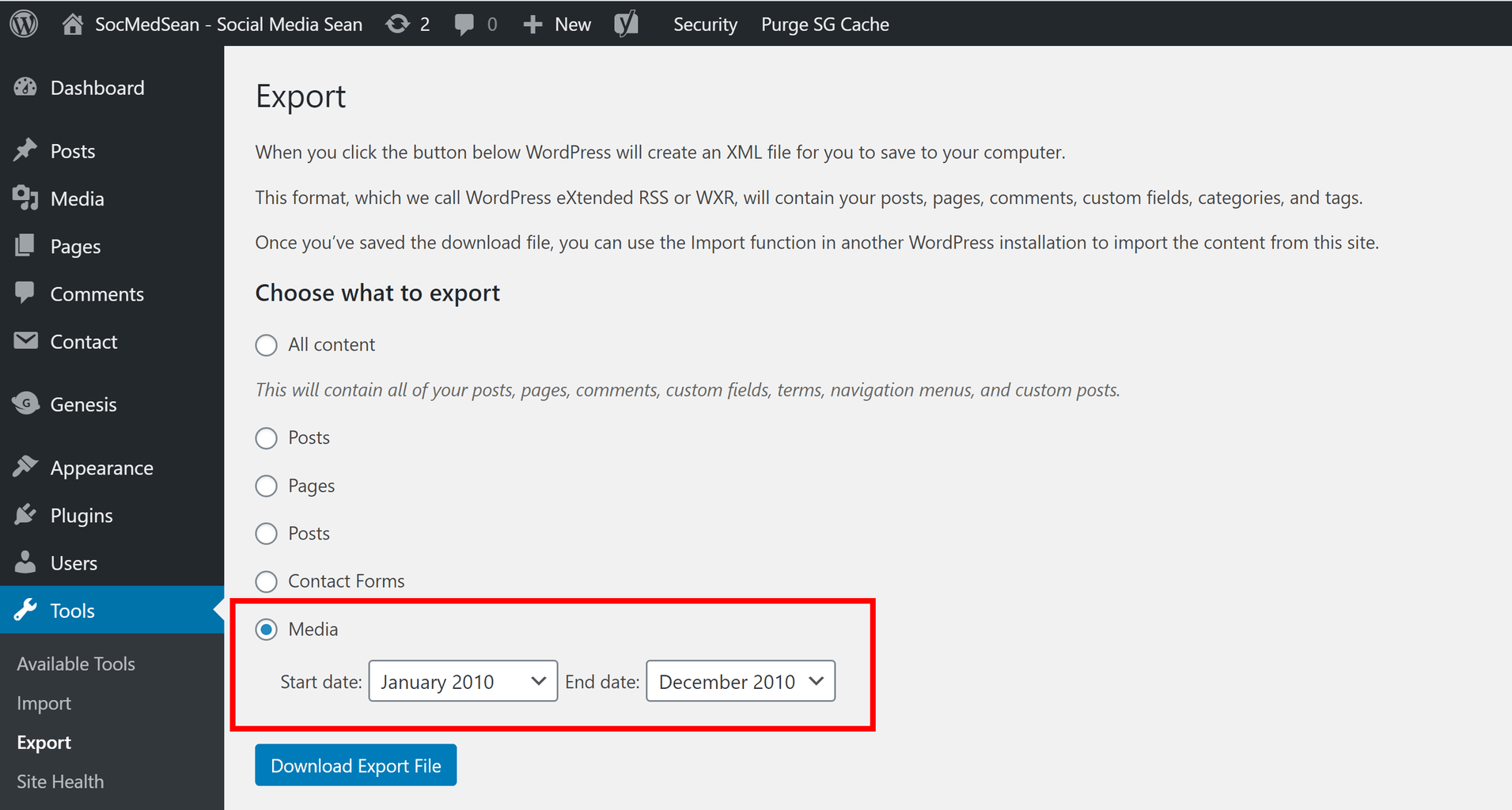 Use the WordPress export tool to create an XML file for your media library objects.