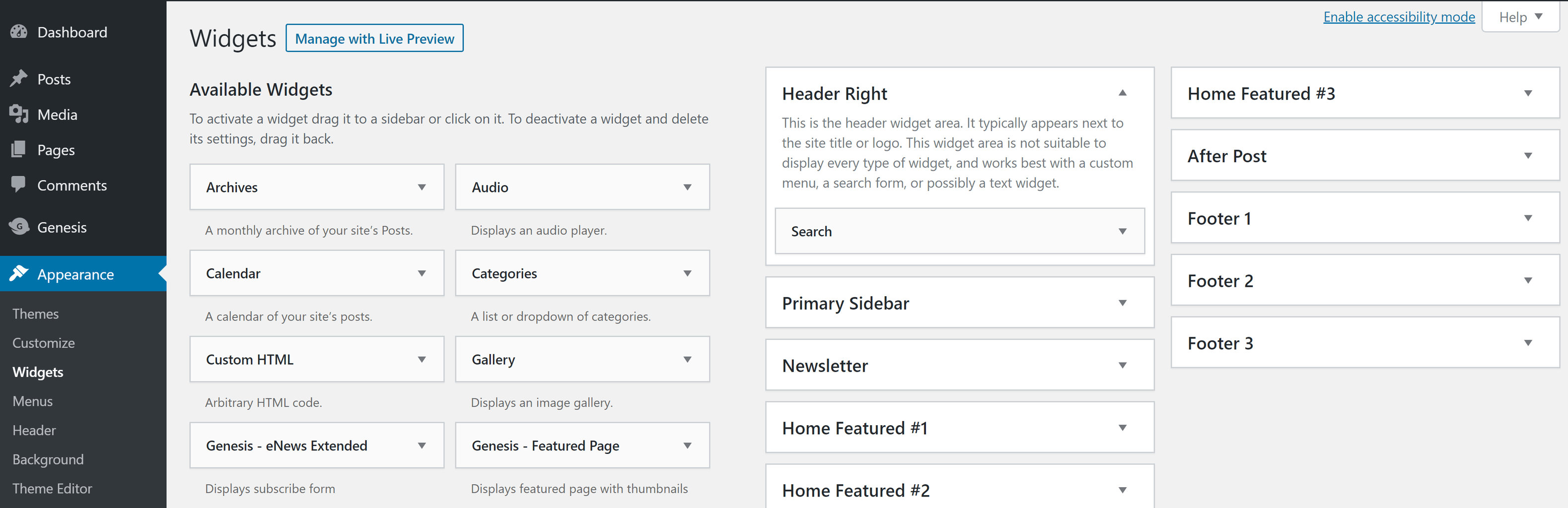 Add any necessary widgets to your site to replicate your live site.