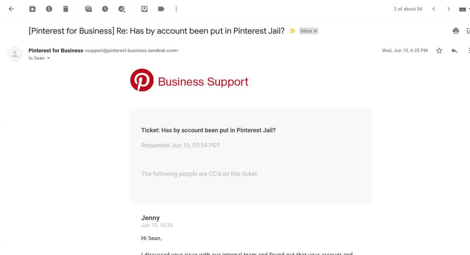 Pinterest customer support does respond to help tickets